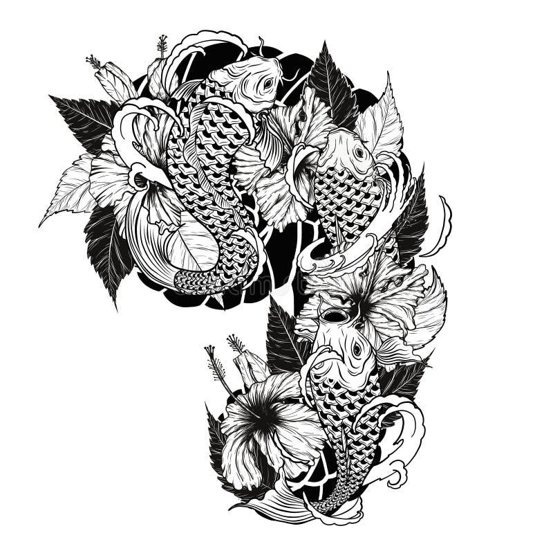 Pesce della carpa e tatuaggio del crisantemo che disegna a mano illustrazione di stock