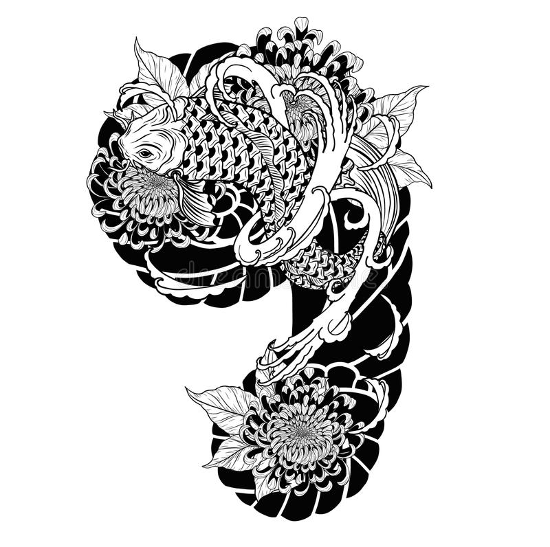 Pesce della carpa e tatuaggio del crisantemo che disegna a mano royalty illustrazione gratis
