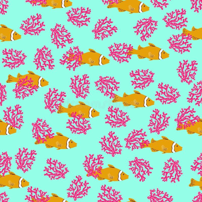 Pesce di anemone senza cuciture del modello della scogliera tropicale Fondo subacqueo variopinto dell'oceano disegnato a mano di  illustrazione di stock