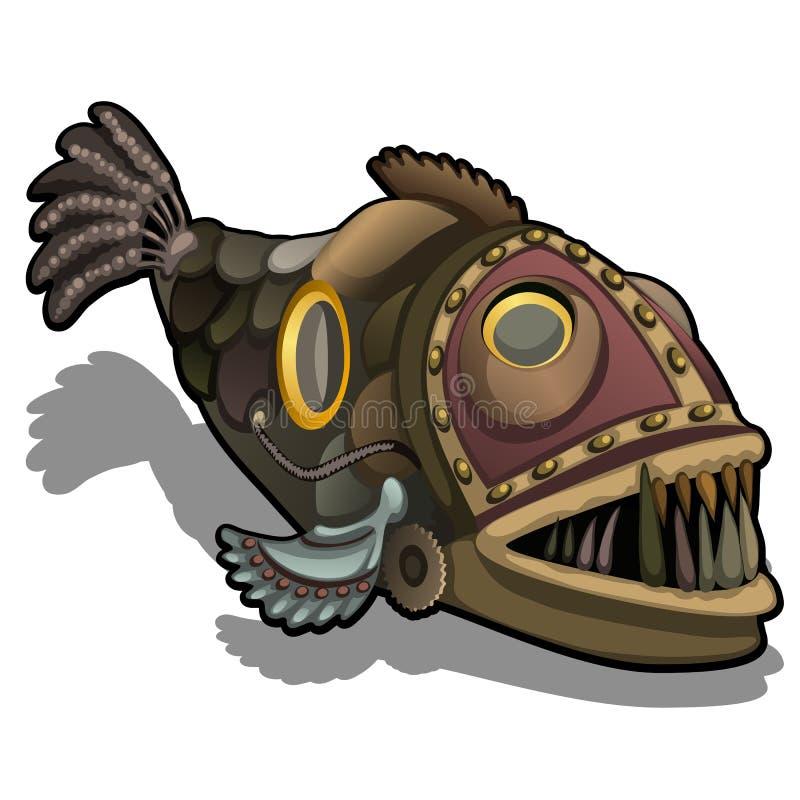 Pesce di Fangtooth nello stile del punk del vapore isolato su fondo bianco Illustrazione del primo piano di vettore del fumetto illustrazione di stock