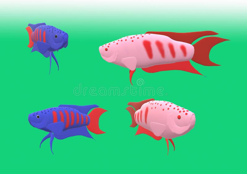 Pesce di gorami nero di paradiso nell'illustrazione 3D immagini stock libere da diritti