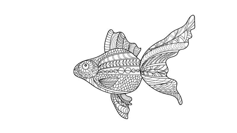 Pesce di immagine di vettore nello stile dudling pesce rosso che dudling fotografie stock
