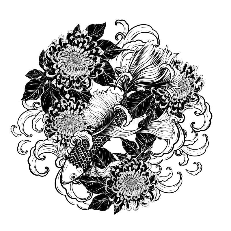 Pesce di Koi e tatuaggio del crisantemo che disegna a mano royalty illustrazione gratis