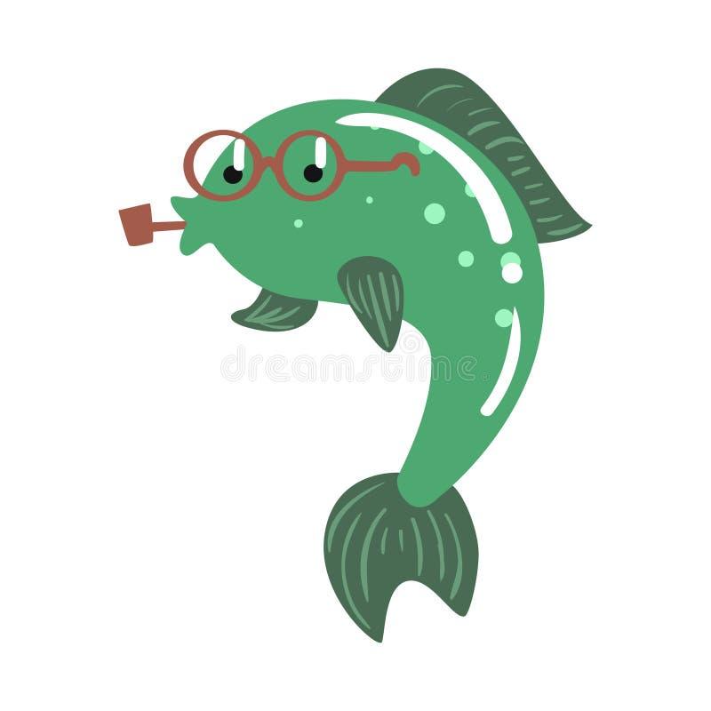 Pesce divertente di verde del fumetto nell'illustrazione variopinta di vettore del carattere del tubo di fumo di vetro illustrazione vettoriale