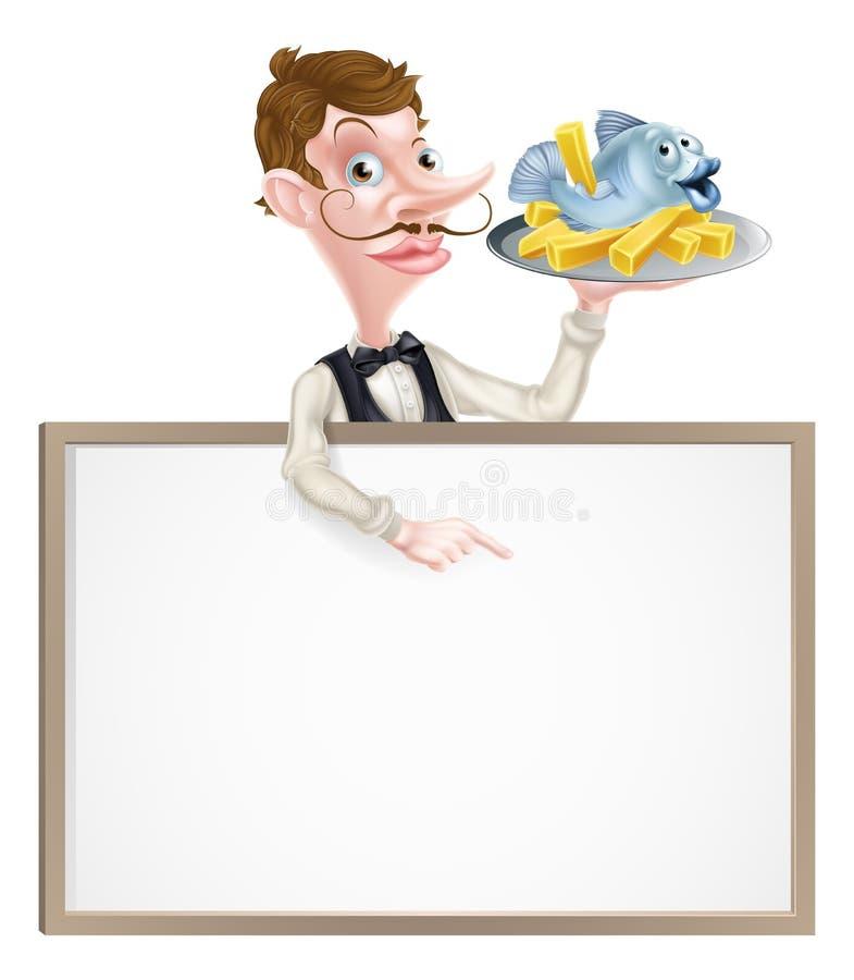 Pesce e Chips Restaurant Menu Signboard illustrazione di stock