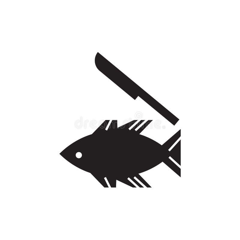Pesce e un segno e un simbolo di vettore dell'icona del coltello isolati su fondo bianco, sul pesce e su un concetto di logo del  royalty illustrazione gratis