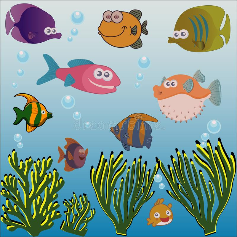 Pesce ed alga differenti sotto il mare illustrazione vettoriale