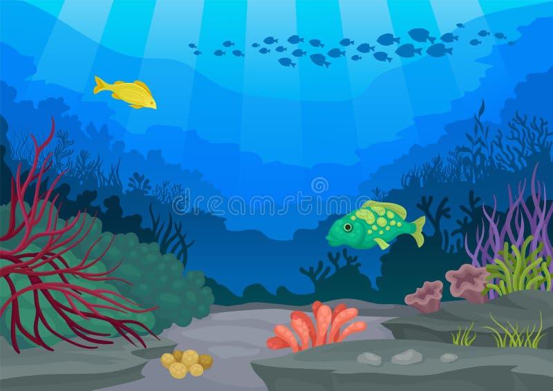 Pesce esotico e mondo subacqueo Illustrazione di vettore royalty illustrazione gratis