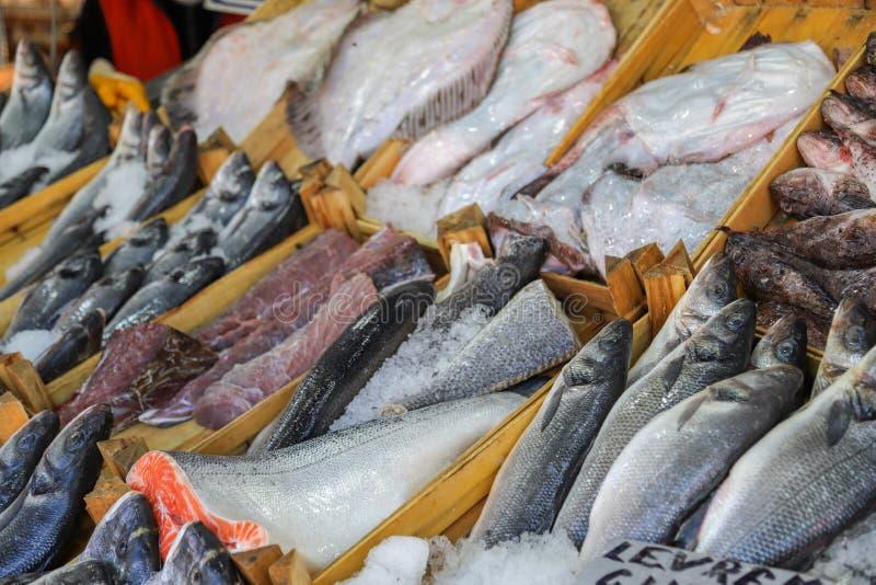 Pesce fresco nel mercato ittico immagini stock