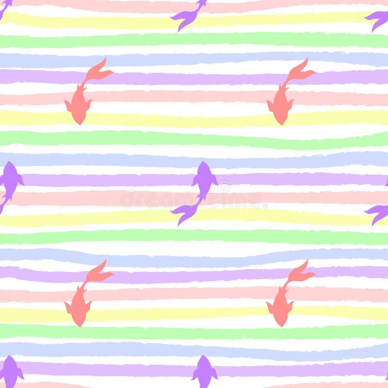 Pesce giapponese di koi-koi sul modello senza fine delle strisce illustrazione di stock