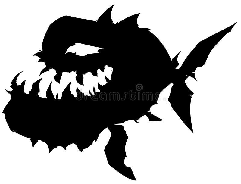 Pesce grafico nero del mostro della siluetta con la grande mandibola illustrazione vettoriale