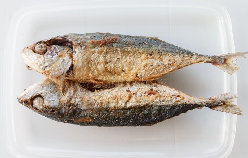 pesce infornato sul piatto bianco fotografia stock