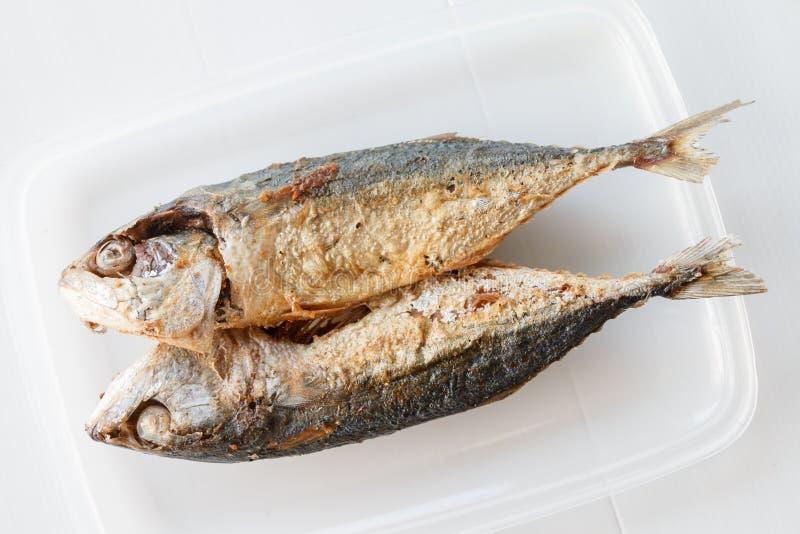 pesce infornato sul piatto bianco immagini stock libere da diritti