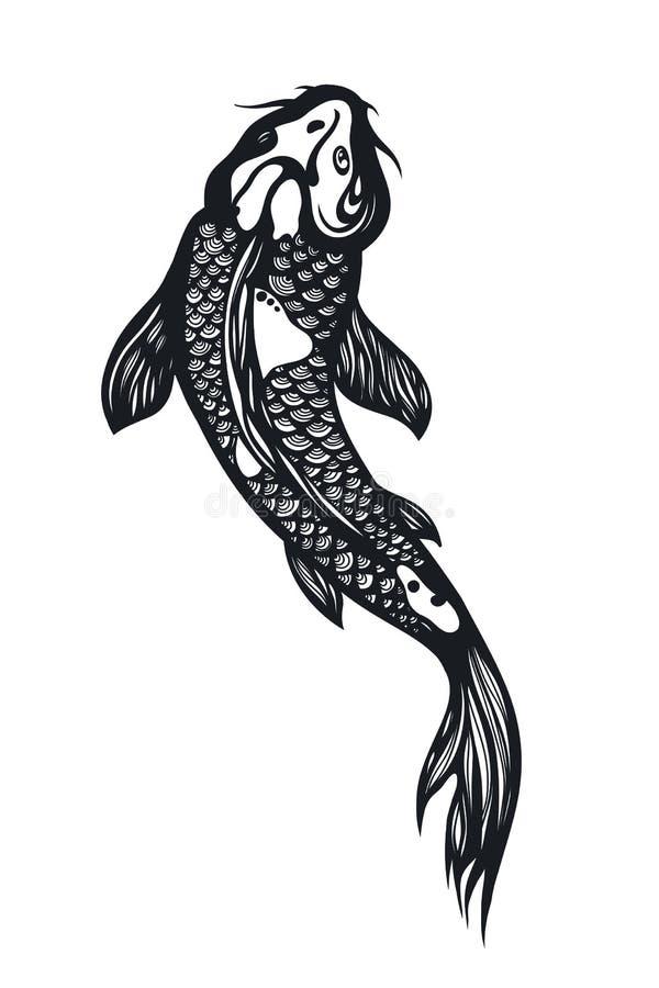 Pesce Koi Carp Simbolo cinese di buona fortuna, di coraggio, di persistenza, di perseveranza, di saggezza e della vitalità illustrazione di stock