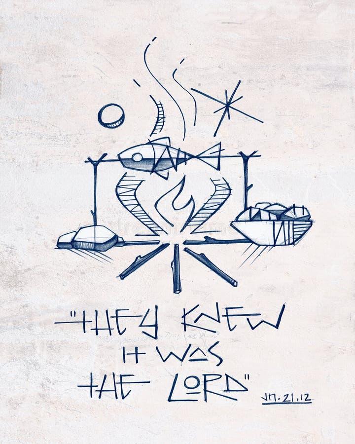 Pesce, pane e frase biblica illustrazione di stock