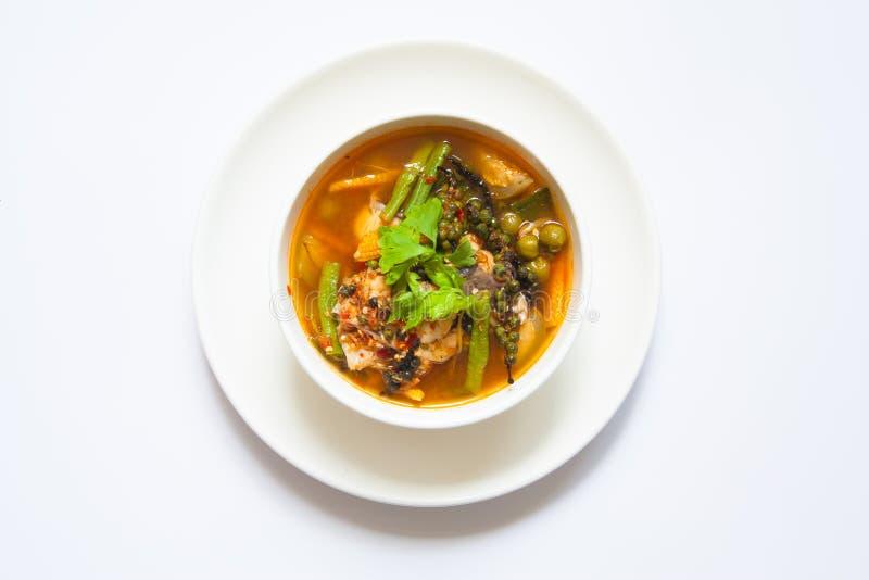 Pesce piccante tailandese del curry con le verdure fotografia stock