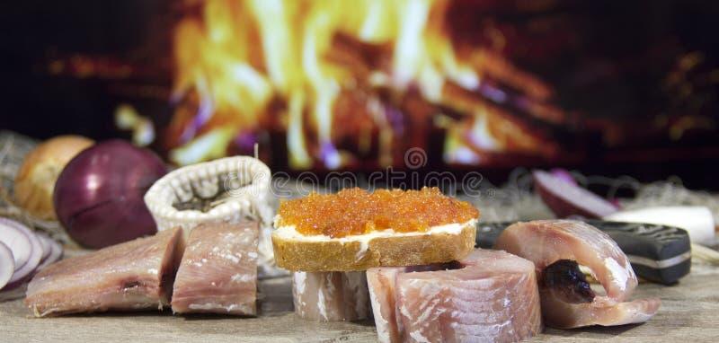 Pesce salato cucinato dopo il fermo fotografia stock libera da diritti