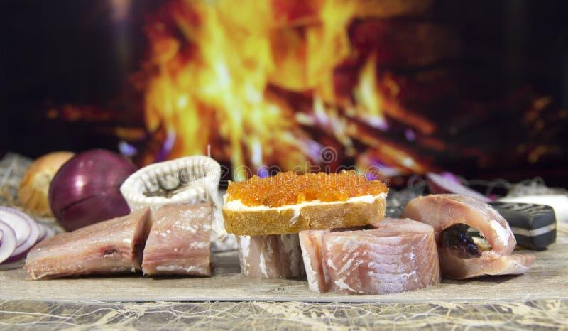 Pesce salato cucinato dopo il fermo immagini stock libere da diritti