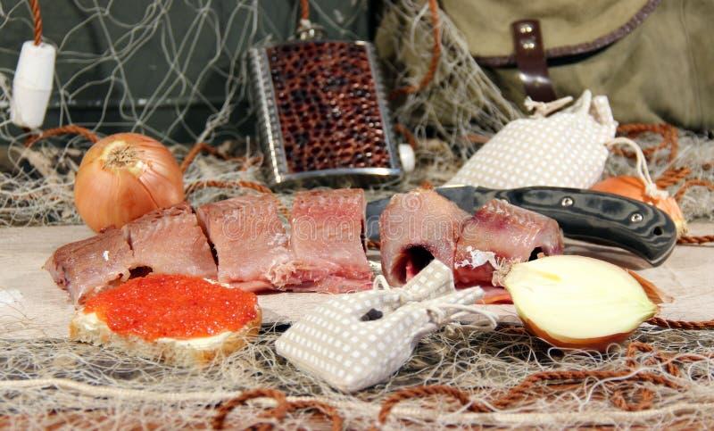 Pesce salato cucinato dopo il fermo fotografia stock