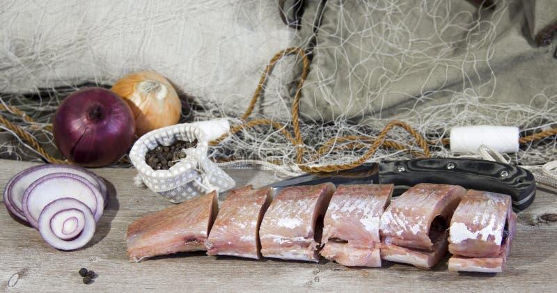 Pesce salato cucinato dopo il fermo immagini stock