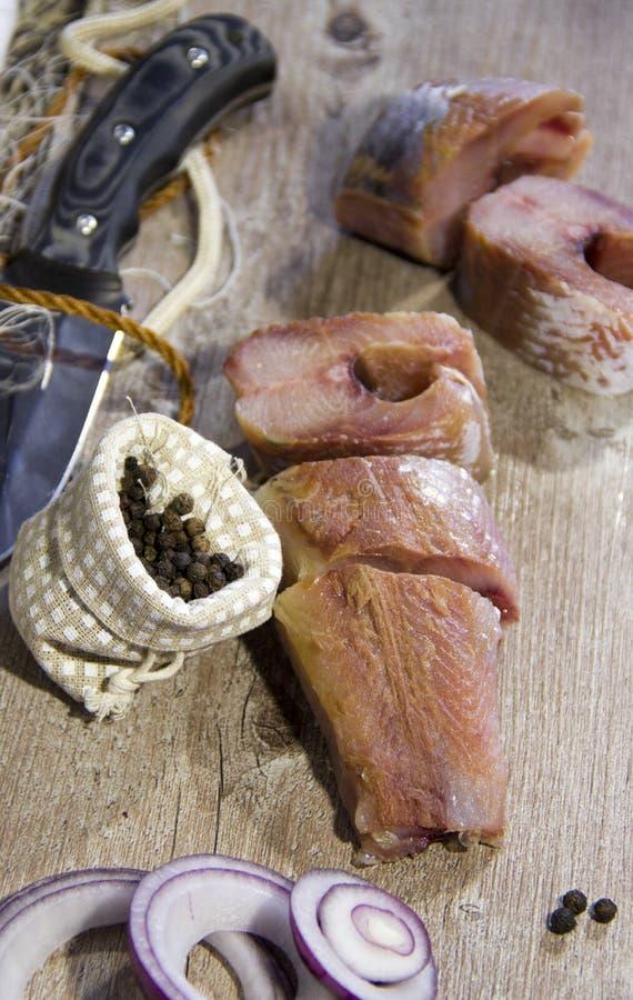 Pesce salato cucinato dopo il fermo immagine stock