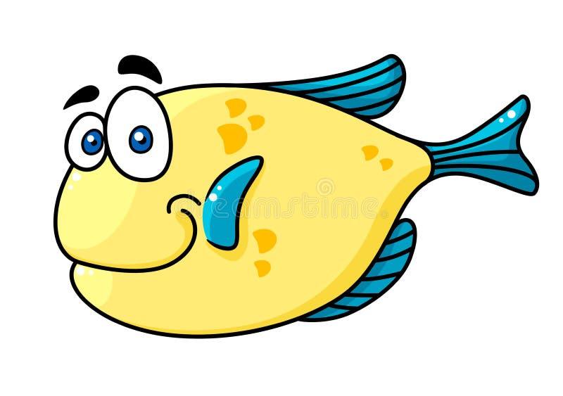 Pesce sorridente di Cartooned con i grandi occhi illustrazione di stock