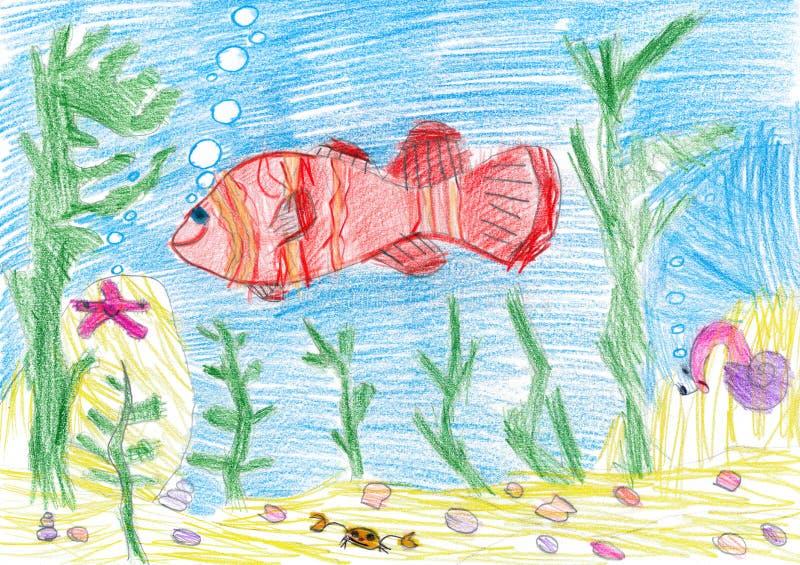 Pesce subacqueo. disegno del bambino illustrazione di stock