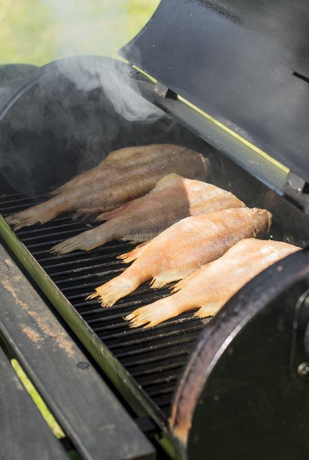 Pesce sul BBQ immagine stock