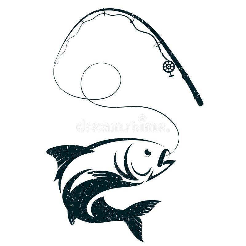 Pesce sul gancio e sulla canna da pesca illustrazione vettoriale