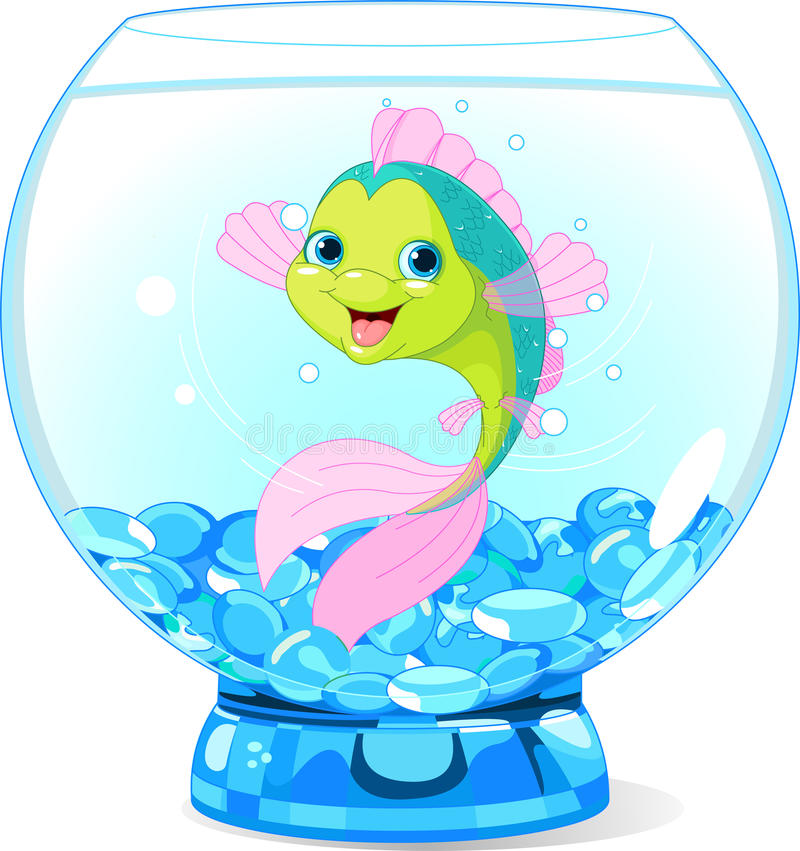 Pesce sveglio del fumetto in acquario royalty illustrazione gratis