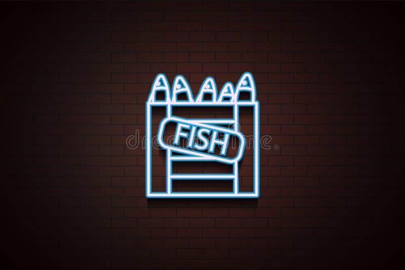 pesce in un'icona della scatola in neon royalty illustrazione gratis