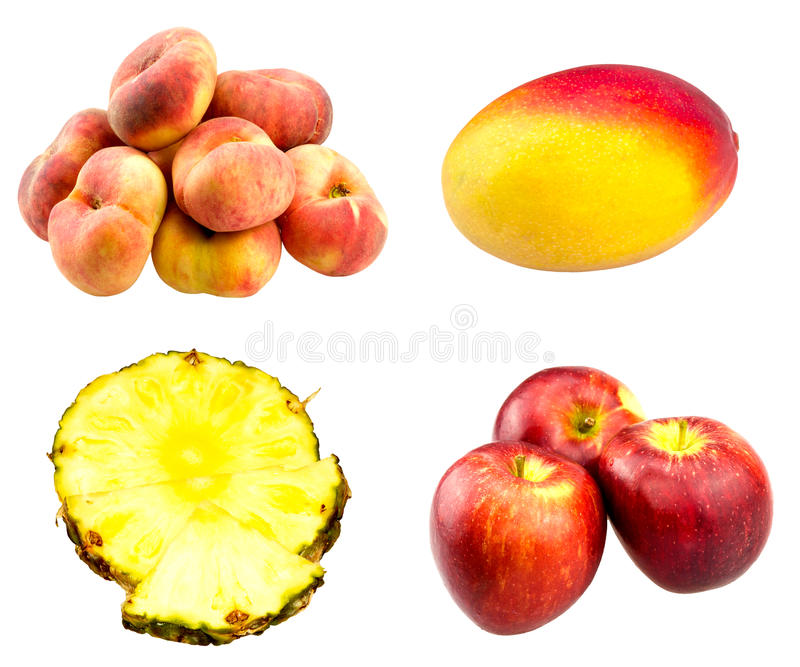 Pesche piane fresche, mele rosse, intera frutta del mango fotografia stock libera da diritti