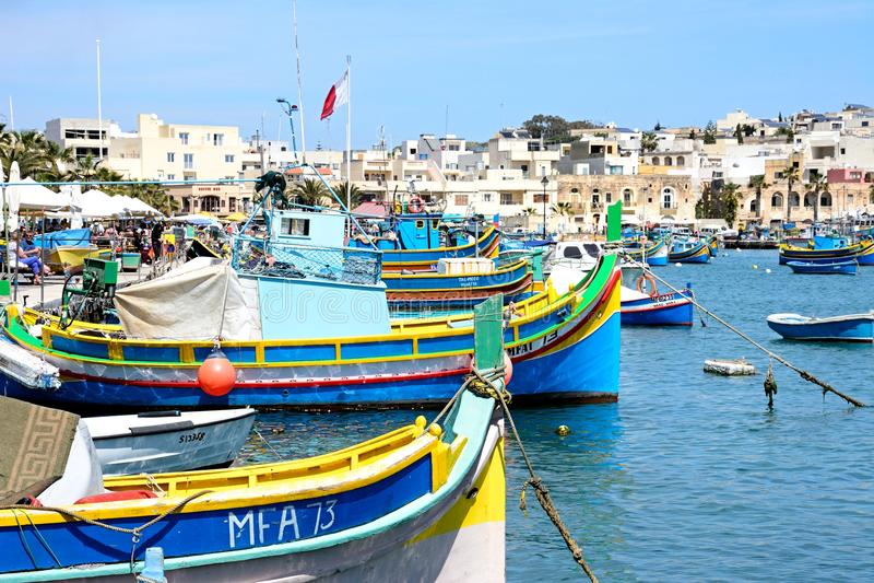 Pescherecci maltesi tradizionali, Marsaxlokk immagini stock
