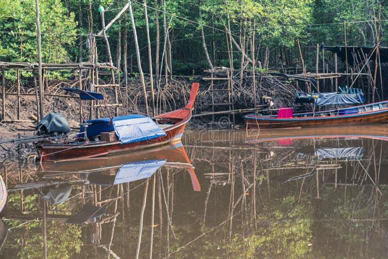Pescherecci in mare e nella foresta della mangrovia della Tailandia immagine stock libera da diritti