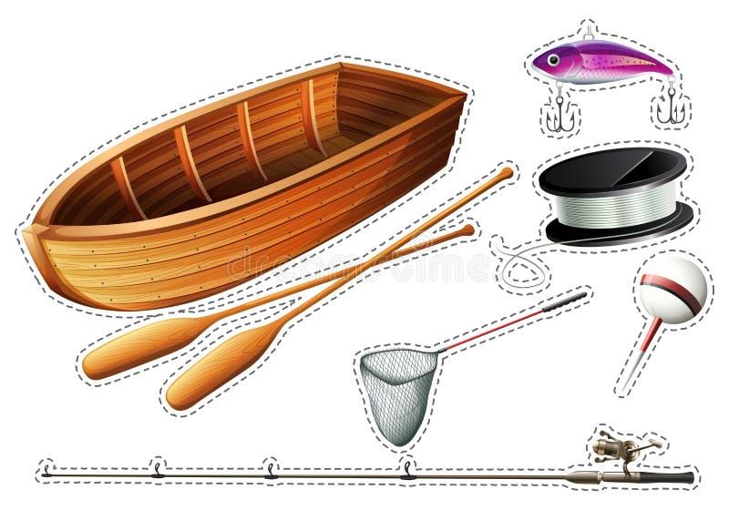 Peschereccio ed altre attrezzature di pesca illustrazione vettoriale