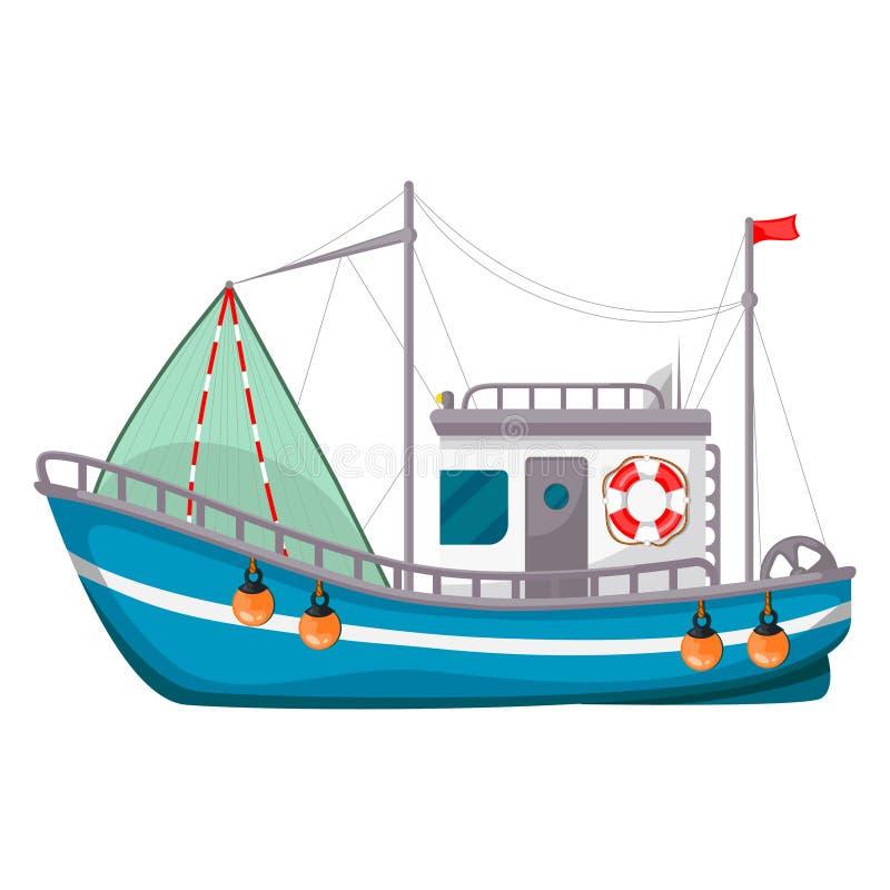 Peschereccio, nave per pescare pesce in mare o in fiume illustrazione di stock