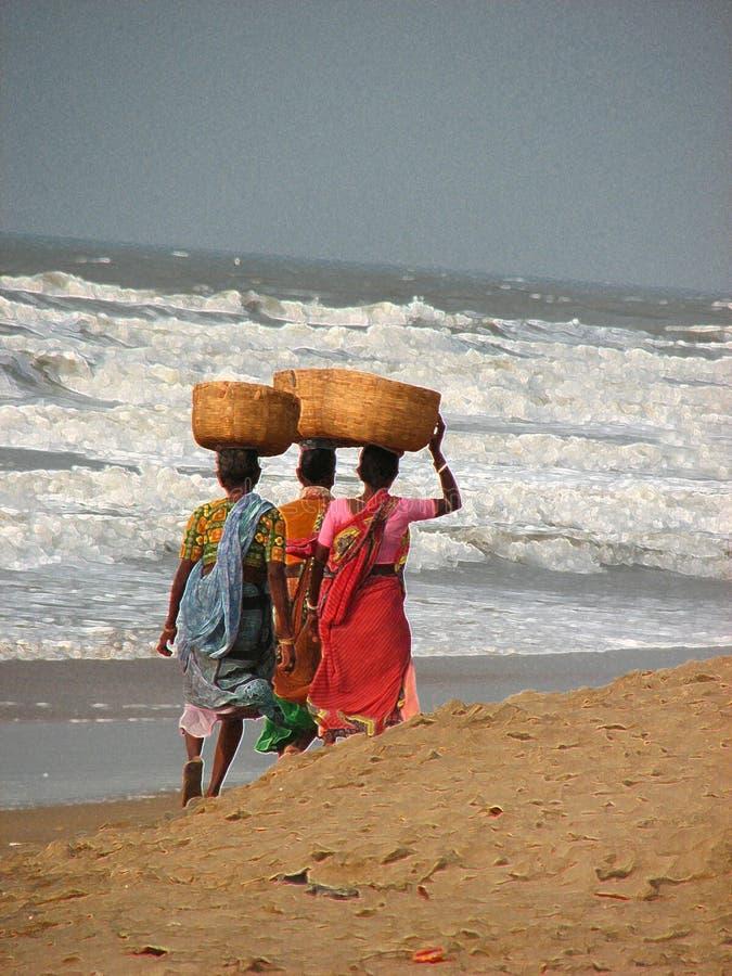 Peschi i venditori, Puri, l'Orissa, India fotografia stock libera da diritti