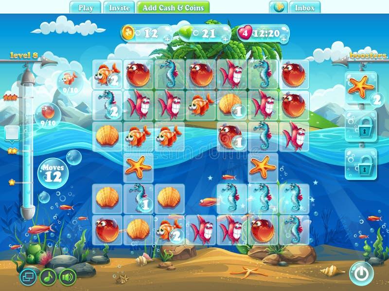 Peschi il campo da gioco del mondo per il gioco di computer o il web design illustrazione di stock
