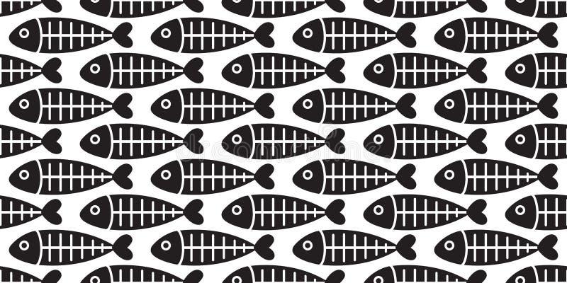 Peschi il contesto del fondo della carta da parati isolato salmone senza cuciture dell'aletta dello squalo dell'osso di pesce del royalty illustrazione gratis