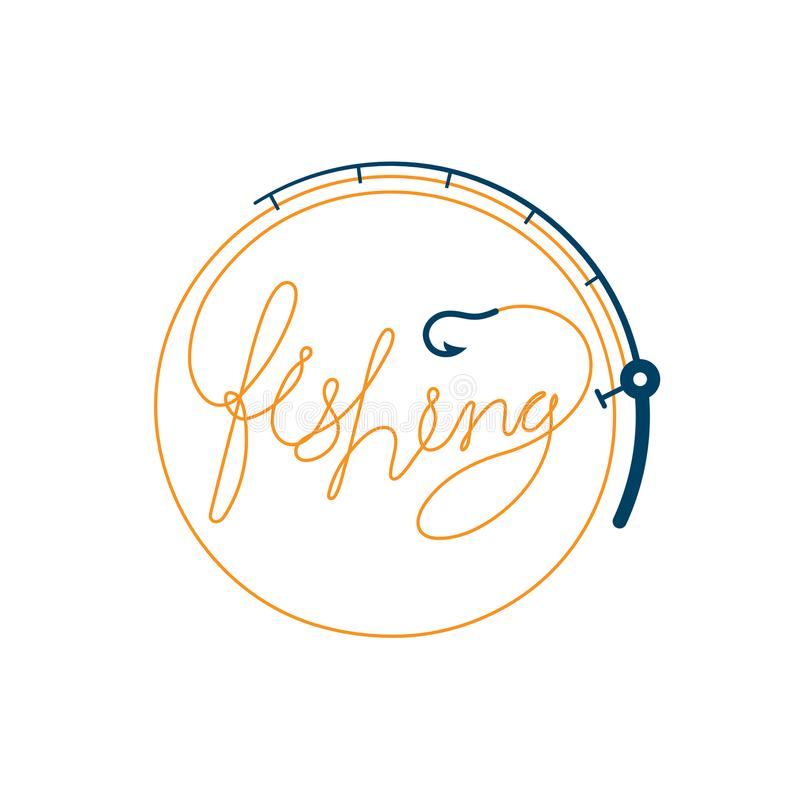 Peschi il testo fatto da forma del cerchio della struttura della canna da pesca, dall'illustrazione arancio e blu scuro di proget illustrazione di stock