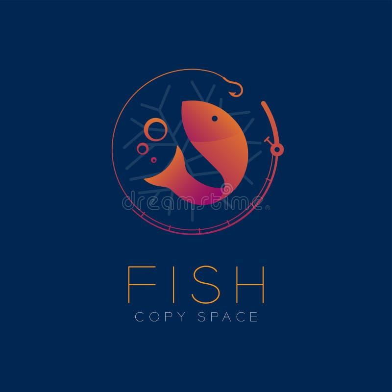 Peschi l'icona di simbolo e la canna da pesca, la viola arancio stabilita g della bolla di aria illustrazione di stock