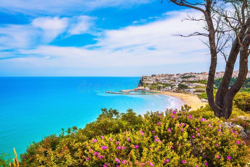Peschici village and beach, Gargano peninsula, Apulia, Italy. Peschici white village and beach, Gargano peninsula, Apulia, southern Italy, Europe stock photo