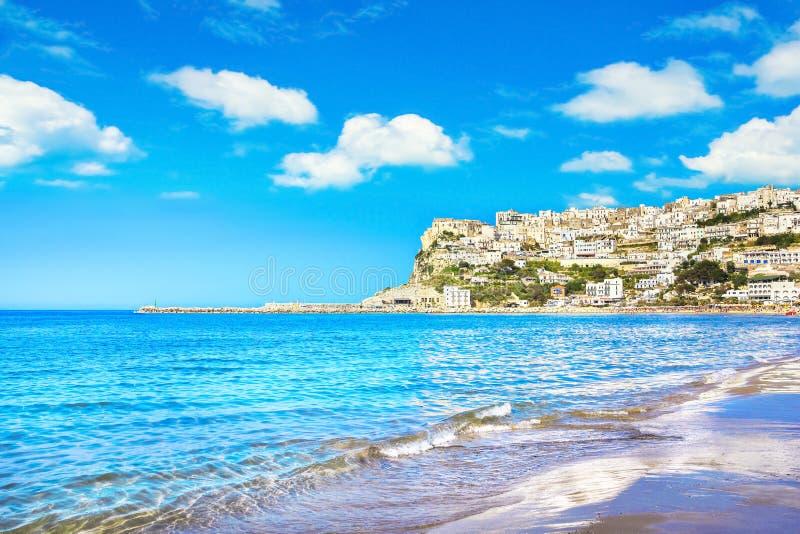 Peschici village and beach, Gargano peninsula, Apulia, Italy. Peschici white village and beach, Gargano peninsula, Apulia, southern Italy, Europe stock image