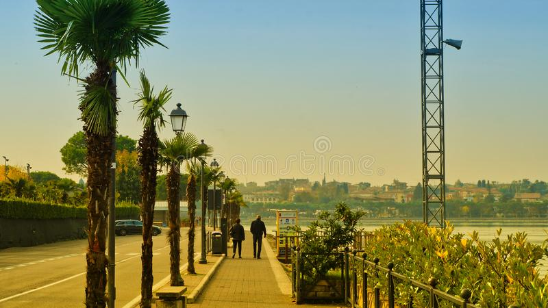 Peschiera del Garda. Is a town and comune in the province of Verona, in Veneto, Italy. When Lombardy-Venetia was under Austrian rule, Peschiera was the northwest royalty free stock photo
