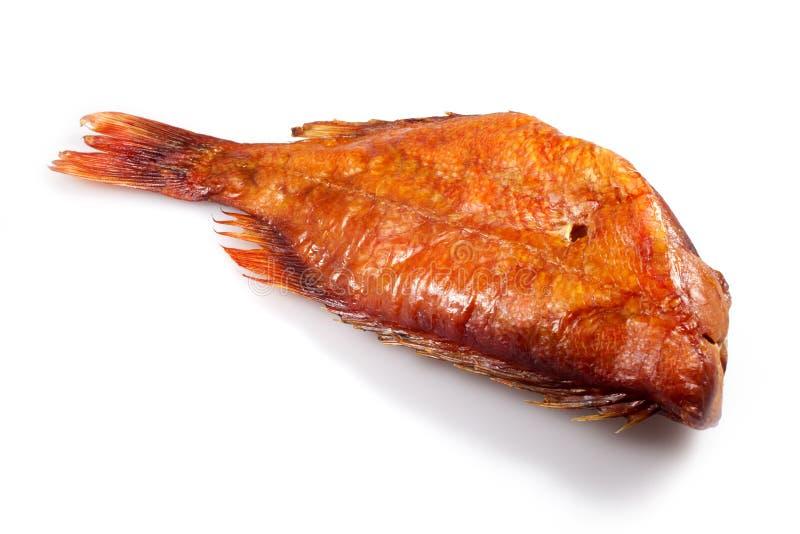 Pesci affumicati su bianco fotografie stock