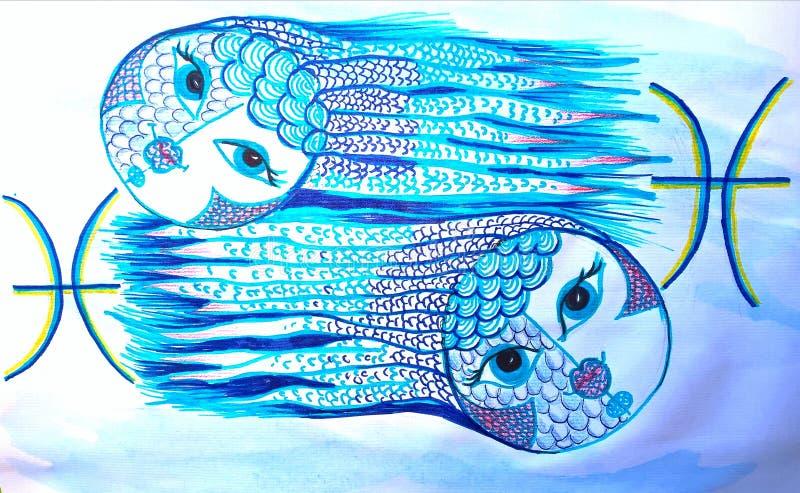 Pesci del segno dello zodiaco Illustrazione fatta a mano illustrazione di stock