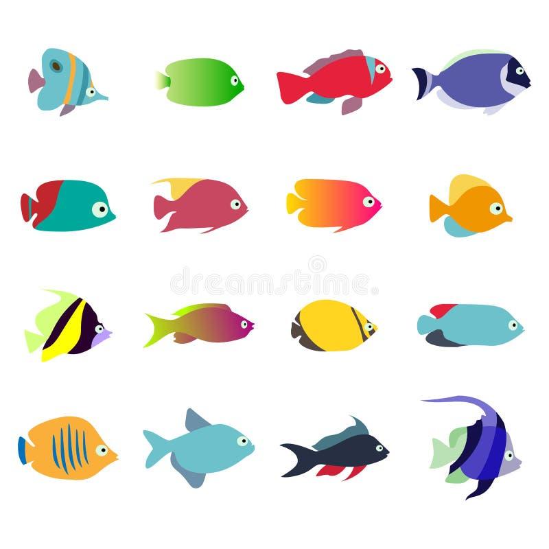 Pesci dell 39 acquario insieme delle icone di vettore su for Acquario tartarughe e pesci insieme