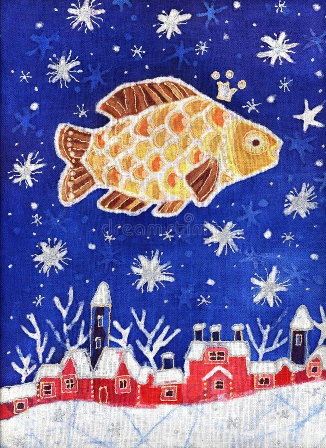 Pesci dell'oro nel cielo stellato illustrazione di stock