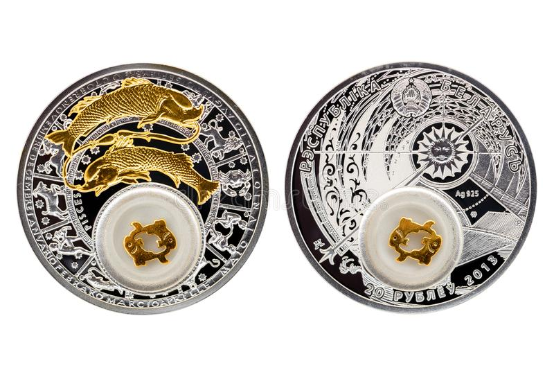 Pesci di astrologia della moneta d'argento della Bielorussia fotografia stock