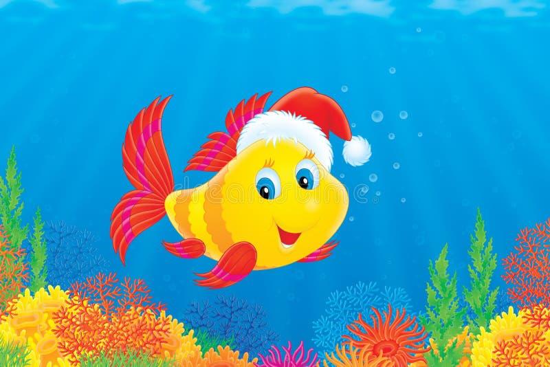 Pesci di corallo che portano una protezione di natale royalty illustrazione gratis